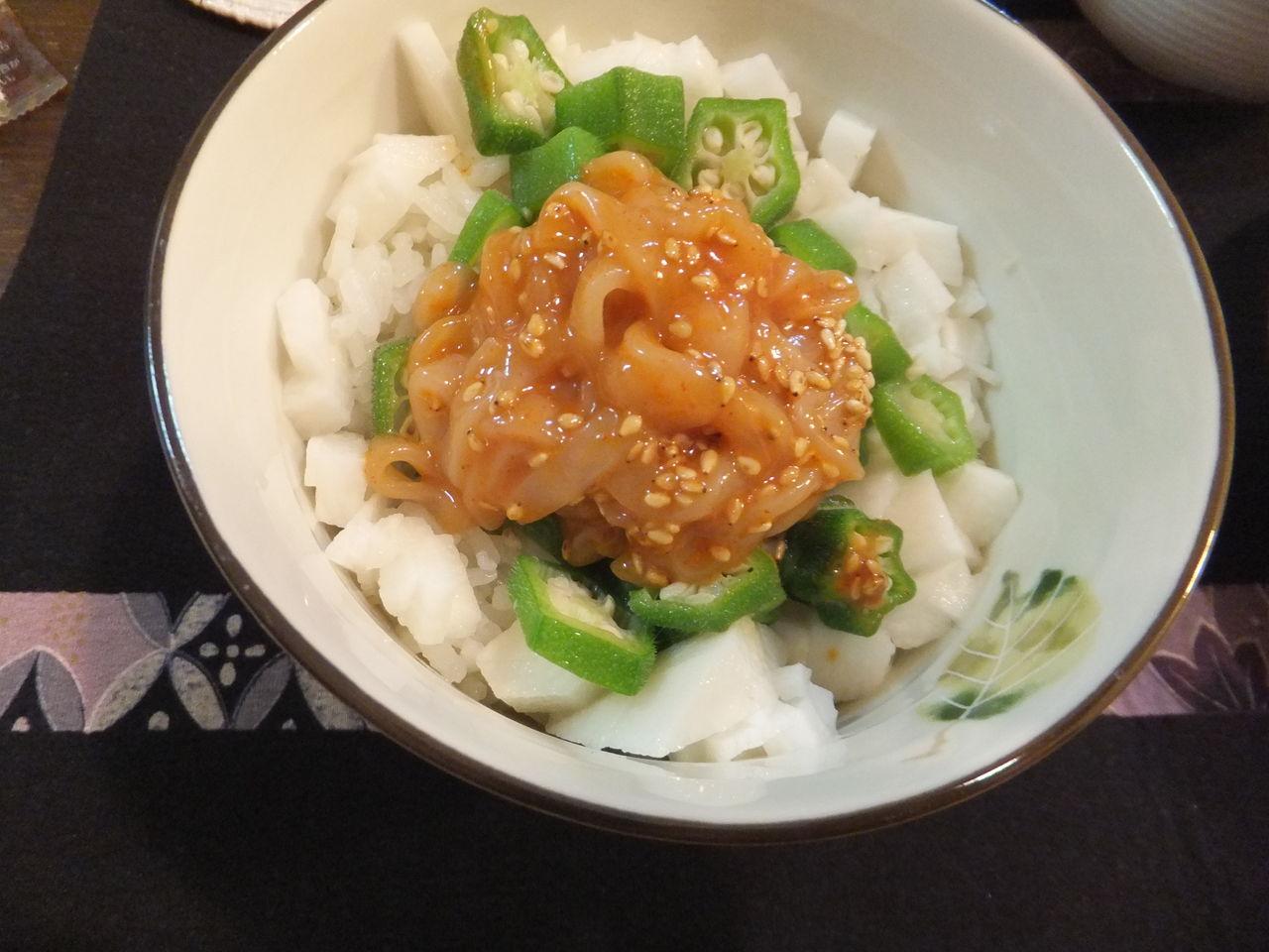 夜ごはん レシピ イカオクラ丼 ねばねばレシピ happy kitchen by yuko