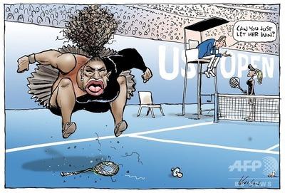 大坂なおみに負け激高するセレーナの「差別的」風刺画に世界中から批判殺到へ