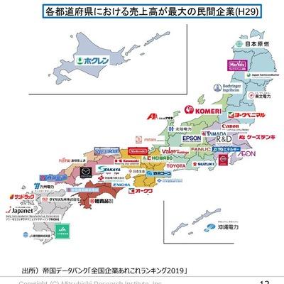 格闘道府県における売上高が最大の民間企業