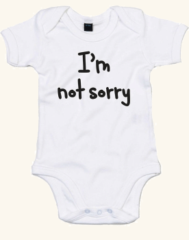 (私は悪くない。) I'm Not Sorry, プリント ベビースーツ - 白/黒 0-3 ヶ月