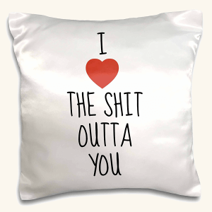 Xander面白い引用 – I Love The Shit Outtaを、ブラックLetters with a picture of a Heart – 枕ケース 16x16 inch Pillow Case pc_213436_1