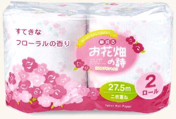 お花畑の詩トイレットティッシュ 2ロール【まとめ売り】144パック