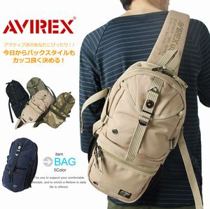 AVIREX EAGLEシリーズ ポリエステルキャンバス ボディバッグ AVX305