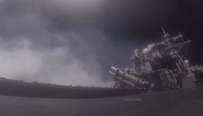 シリア空軍基地をミサイル攻撃した米海軍イージス艦ポーター(USS Porter)の発射映像を公開…米国防省!