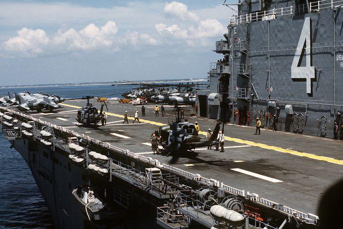 UH-1Ns_on_USS_Nassau_(LHA-4)_1991