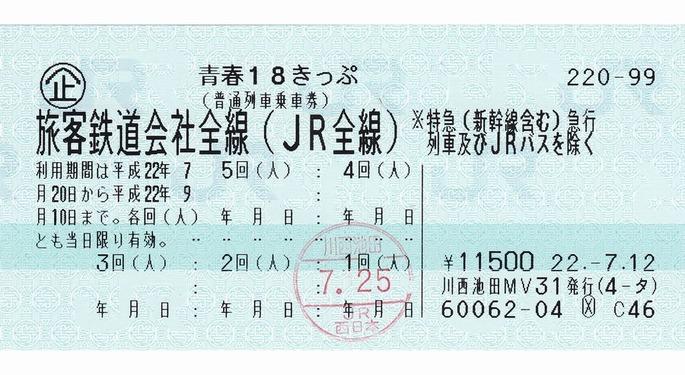 青春18きっぷ(普通列車乗車券)