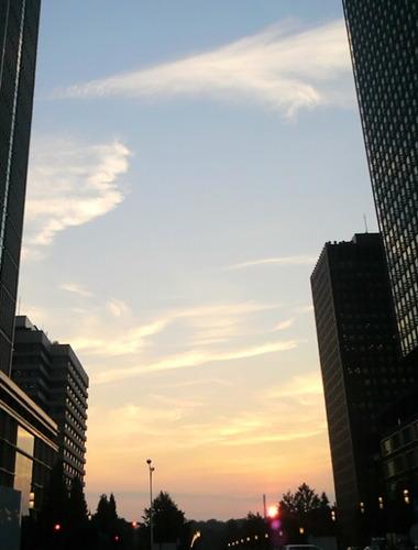 東京駅夕日7.29