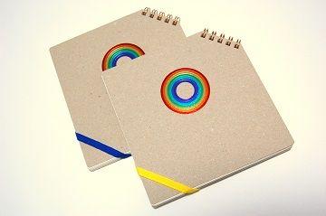 7色箔 『 虹 』 正方形ななめリングノート