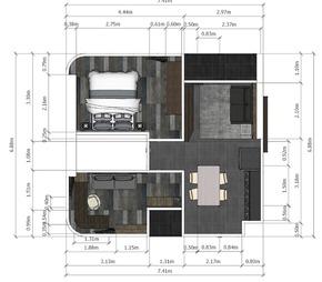 2ベッドルーム内装工事図面