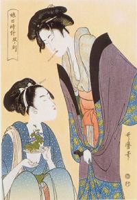 娘日時計 辰の刻、喜多川歌麿、musumehidokei01.jpg