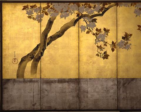 酒井抱一「桜花図屏風」