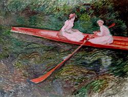 クロード・モネ「バラ色のボート」