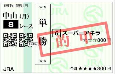 中山8R単勝
