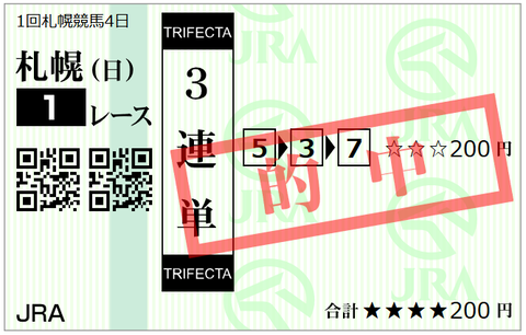 札幌1R3連単