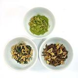 ほうじ茶、煎茶、抹茶と乾燥生姜をブレンド