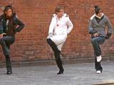 3 girls dancing wall - juri