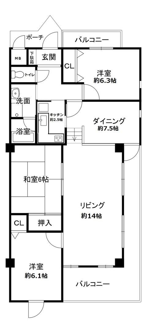 ヒルサイドコート茨木(間取)