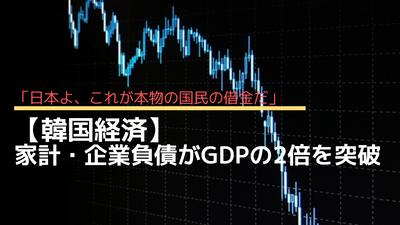 【韓国経済】ついに家計・企業負債がGDPの2倍を突破