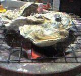 焼いている牡蠣アップ