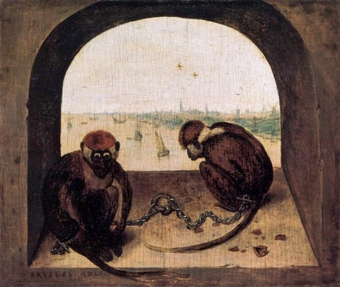 Pieter Bruegel the Elder - Two Chained Monkeys