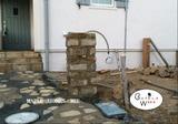 アプローチ、門柱、水栓