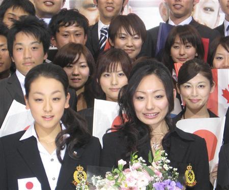 安藤美姫、浅田真央、世界国別団体戦記者会見