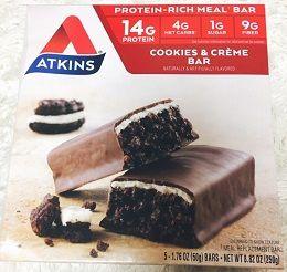 Atkinsミールバー、クッキーアンドクリームバー