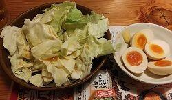 鳥貴族キャベツお替り無料と煮卵