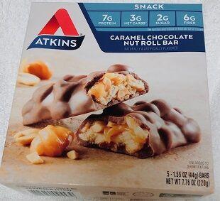 Atkins, キャラメルチョコレートナッツロールバー