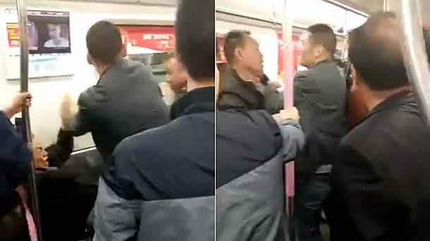 【動画】中国、地下鉄で40代夫婦と60代夫婦が座席をめぐってバトルを展開! [海外]