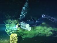海水と淡水が綺麗に上下に分かれた不思議な水中洞窟に潜る。