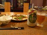 青椒肉絲+ノンアルコールビール