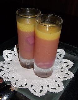 桃のジュレと オレンジのグラスデザート