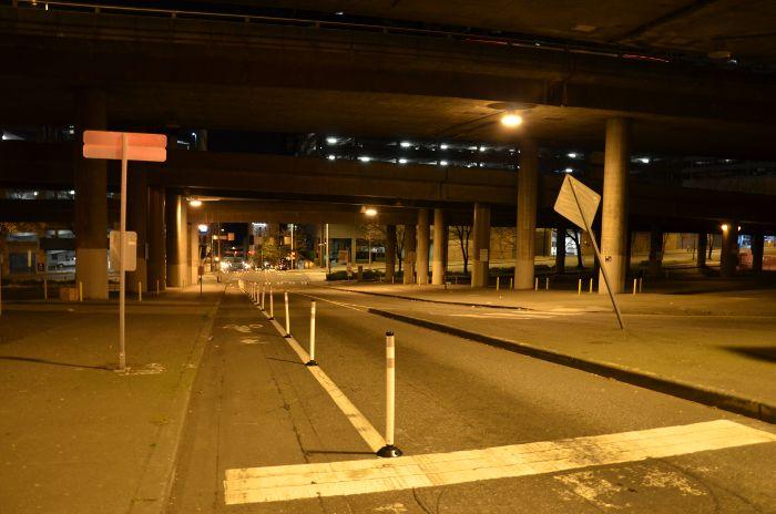 Guerrilla bike lane protectors, www.seattlebikeblog.com