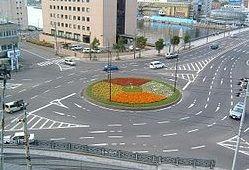 釧路市にあるロータリー交差点