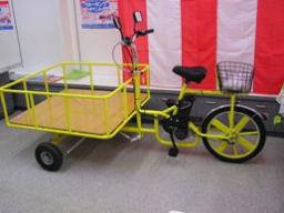 補助電動アシスト付荷台付き三輪自転車