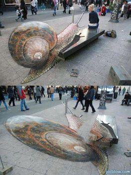 3D Snail Street Art