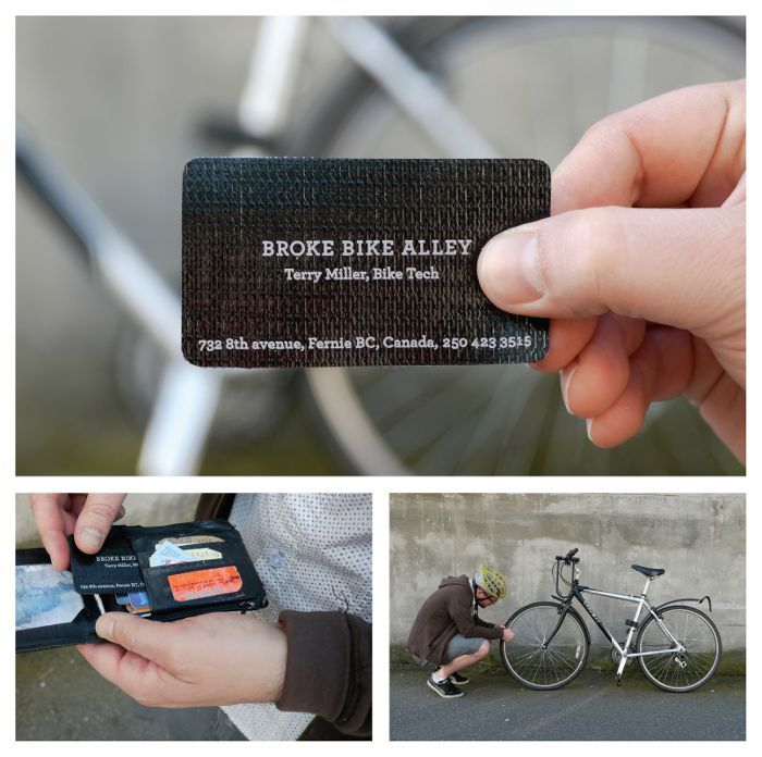 Broke Bike Alley: Tire patch business card, adsoftheworld.com