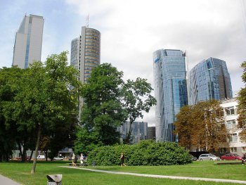 Skyscrapers in Vilnius, Photo by Arroww<br>  ,licensed under the Creative Commons Attribution ShareAlike 3.0 Unported.