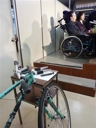 前輪部分が脱落したイタリア「ビアンキ」ブランドの自転車