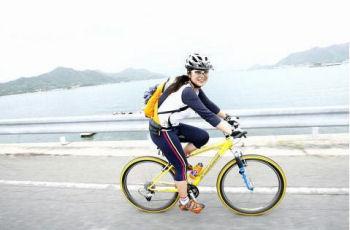 旅先でサイクリング