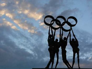 Olympic Monument at the Office Building of the IOC in Lausanne, Switzerland. This image is in the public domain.