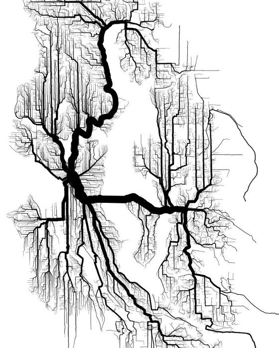 Shortest Path Tree of Seattle Area for Bicycle Travel