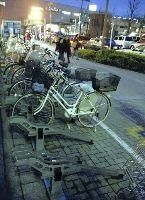 府中市中河原駅前に設置された駐輪場。メーカーによって様々なタイプがある