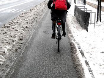 コペンハーゲンの自転車レーン除雪