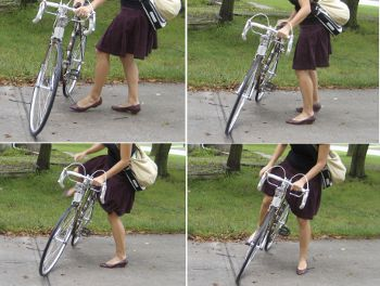 roadbikin' in skirt and heels