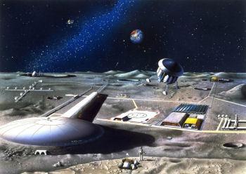 月面基地想像図:JAXA