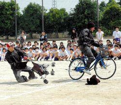 自転車事故実演