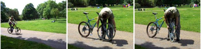 タイヤまでたたむ自転車