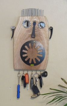 Burl a Steampunk Bicycle Gearhead Guy Key Holder Mask, www.etsy.com